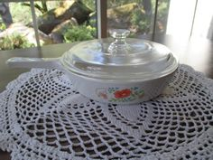 Wildflower Corning Ware Skillet w/glass lid.