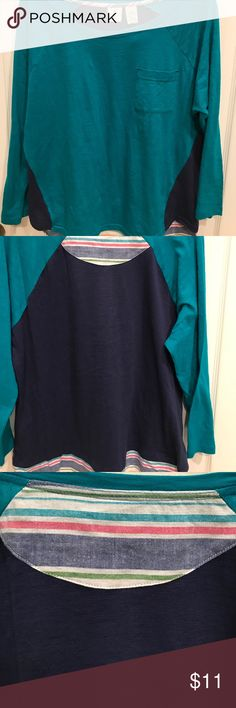 Cute!  Caribbean Joe Shirt This shirt is cute cute cute!  100% cotton, adorable front pocket to tone turquoise and navy with cute striped pattern on tail and back.  Light weight and comfortable!! Caribbean Joe Tops Tees - Long Sleeve