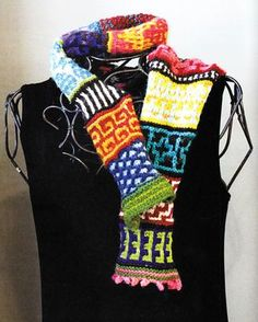 American Crazy Quilt Scarf by Susan Nix from the book Knitting Scarves from Around the World #modernknitting #knittingscarves