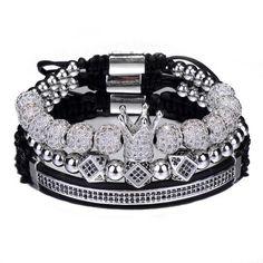 Luxury Jewelry Bracelet Hip Hop Gold Men Jewelry Cubic Micro Pave CZ Charm Bracelets For Women Men Pulseira Bileklik Silver Bracelets, Bracelets For Men, Jewelry Bracelets, Men's Jewelry, Cross Bracelets, Handmade Jewelry, Mens Gold Jewelry, Gold Crown, Fancy