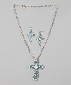 This Turquoise Jewel Necklace & Earrings by Accessories West Imports is perfect! #zulilyfinds