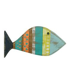 Loving this Aqua & Orange Hand-Painted Reclaimed Wood Fish Wall Art on #zulily! #zulilyfinds