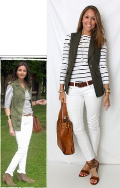 white skinnies, black & white stripe top and cargo vest/jacket