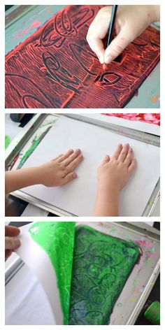 Gelatin printmaking is an easy way to do monoprinting. Here are 2 gelatin printing techniques, plus a quick tutorial on how to make your own gelatin plates. via Artful Parent Art Activities For Kids, Preschool Art, Crafts For Kids To Make, Art For Kids, Ice Cream Art, Plate Art, Kids Prints, Painting For Kids, Teaching Art