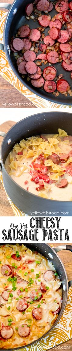 Pan Cheesy Smoked Sausage Pasta Skillet One Pot Cheesy Smoked Sausage and Pasta Skillet - A 20 minutes meal that cooks all in one pot .One Pot Cheesy Smoked Sausage and Pasta Skillet - A 20 minutes meal that cooks all in one pot . Sausage Pasta Recipes, Pork Recipes, Cooking Recipes, Recipies, Yummy Recipes, Yummy Food, Pasta Dishes, Food Dishes, Pasta Meals
