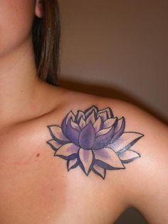 Purple Lotus Tattoo On Left Shoulder
