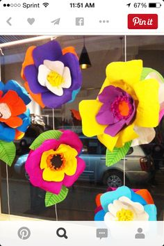 Festive colorful giant flowers