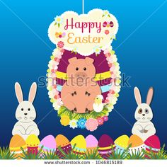 Easter bunnies, piglet, eggs flowers on gradient blue background. Stylish holiday background, Vector illustration.