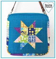 Zakka Sewing – Scrappy Patchwork Star Shoulder Bag or Pouch A PDF Sewing Pattern by Amy Morinaka, author of Zakka Handmades Bag Patterns To Sew, Pdf Sewing Patterns, Quilting Patterns, Patchwork Bags, Quilted Bag, Diy Kleidung, Fabric Bags, Bag Making, Sewing Projects