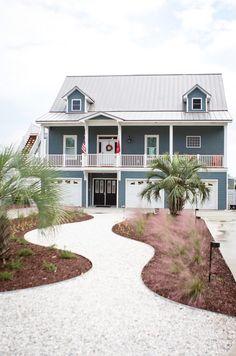 Home Exterior Paint Color. The paint color of this beach house is Portsmouth Blue