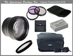 The Sportsman Package For The Canon Powershot G16. Lens: Power: 2.2x times conversion factor of your current lens setting., Optical System: Conversion type; mounts on front of existing lens., Mounting System:Screw type in front of existing camera lens into the filter accessory threads., Optics: Designed to maximize use day and night with coated optics to provide maximum image transmission with minimum distortion., Auto Focus:Utilizes camera auto focus system. Filters: UV Filter…
