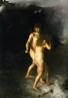 Adam and Eve expelled Paradis - Hans Heyerdahl 1878 Norwegian 1857-1913