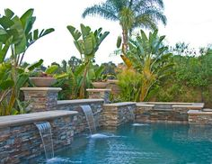 Water curtain, steeping stones, and fountain spa by Pool Design ...