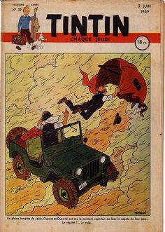 En pleine tempête de sable, Dupont et Dupond ont cru le moment opportun de fixer la capote de leur jeep... Le résultat ?... Le voilà...
