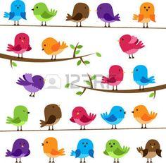 cartoon bird: Vector Set of Colorful Cartoon Birds Illustration