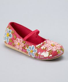 Take a look at this Hot Pink Beaded Flower Flat by Fairy Dreams on #zulily today!