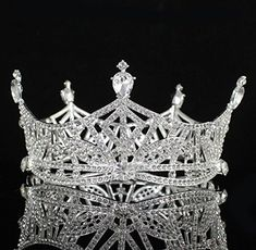 Janefashions Miss America Crown Clear Austrian Rhinestone Crystal Hair Tiara Beauty Queen Princess Hair Jewelry Round Crown Pageant (Silver-Tone) Tiara Hairstyles, Princess Hairstyles, Miss America Crown, Tiaras And Crowns, Beauty Queens, Hair Jewelry, Pageant, Crystal Rhinestone, Crystals