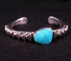 Orville Tsinnie Kingman Turquoise Silver Pyramid Bracelet