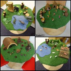 "Small world set-ups by the children, on the cable reel - from Rachel ("",)"