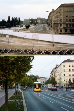 Berlin Wall: Then and Now - A view of East Berlin from a platform in Bernauer Strasse, West Berlin, in 1980 and (below) trams crossing an area that was formerly a part of the Berlin Wall in October, 2014.