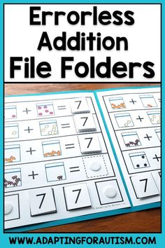 Add these math file folders to your independent work stations to practice addition and subtraction skills. These file folder activities are snack themed and can be used along with real food to count! Includes folders for adding, subtracting, and making Math Addition, Addition And Subtraction, Preposition Activities, File Folder Activities, Nonsense Words, Preschool Special Education, Special Needs Students, Sight Word Practice, Student Data