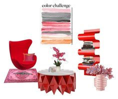 """Color Challenge: Red and Pink"" by flippintickledinc ❤ liked on Polyvore featuring interior, interiors, interior design, home, home decor, interior decorating, Flash Furniture, Altreforme, SONOMA Goods for Life and Oliver Gal Artist Co."