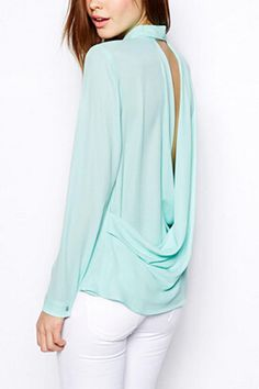 Mint open back blous