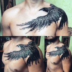 Ethnic Patterns On Dark Raven Tattoo Male Shoulders