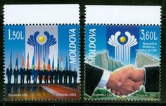 Moldova 2002 Scott 430-431 Commonwealth Independent State Summit Set MNH Republica Moldova, Commonwealth, Postage Stamps, Russia, Federal, Stamps