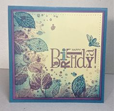 handmade birthday card ... luv the purple and blue inking of the leaves instead of greens or Fall colors ... one-layer card ...  BIRTHDAY in a block ... Stampin' Up!