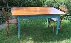 Reclaimed pine farm table by jeffbuildsfurniture, via Flickr