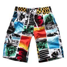Straight Leg Color Block Spliced Patch Pocket Elastic Waist Men's Board Shorts #jewelry, #women, #men, #hats, #watches, #belts