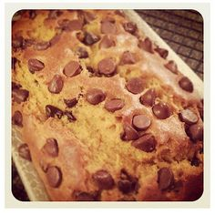 Pumpkin Chocolate Chip Bread - recipe with sour cream and oil, maybe replace with greek yogurt?