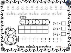 Colección de fichas para trabajar los números del 1 al 30 - Imagenes Educativas Spanish Worksheets, Kindergarten Math Activities, Periodic Table, Diagram, Classroom, School, Mani, Gabriel, Printables