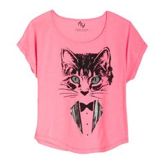 Kitty Tux Tee ($5.99) ❤ liked on Polyvore featuring tops, t-shirts, shirts, pink, tees, graphic tees, pink tee, tuxedo tee, pink shirt and t shirts