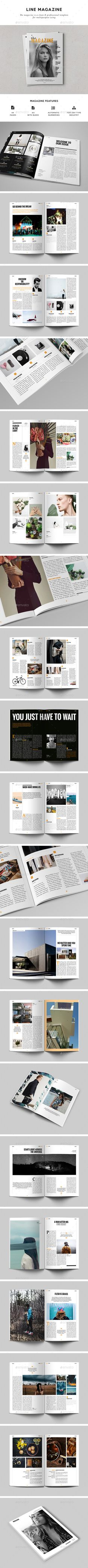 Line Magazine — InDesign INDD #cs6 #graphic design • Available here → https://graphicriver.net/item/line-magazine/15888140?ref=pxcr
