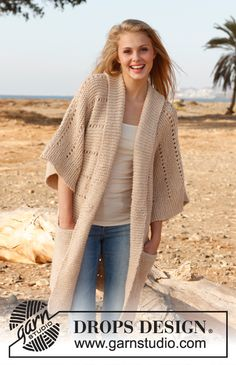 """Knitted DROPS jacket in garter st with shawl collar in """"Lima"""". Size: S - XXXL. ~ DROPS Design"""
