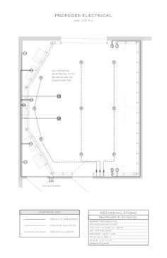 Recording Studio Construction Plans #2 - Proposed electrical, plan view