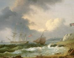 Aus dem Geschwader, Cowes von Thomas Luny Seascape Paintings, Battleship, Castles, Landscapes, Boat, Pictures, Beautiful Landscapes, Picture Frame, Idea Paint