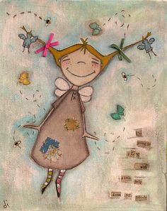 Print of my original folk art painting A Little Help by DUDADAZE Kunstjournal Inspiration, Art Journal Inspiration, Art Journal Pages, Art Journals, Illustrations, Illustration Art, Whimsical Art, Medium Art, Mixed Media Art