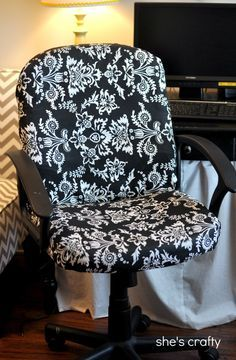 She's crafty: recovered office chair