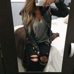 Leather jacket Gray t shirt Ripped black pants