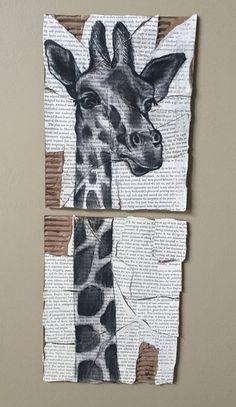 Giraffe by ThingsByJie on Etsy Giraffe Decor, Giraffe Art, Cute Giraffe, Giraffe Drawing, Panda, Giraffe Pictures, Spiritual Animal, Book Folding Patterns, Africa Art