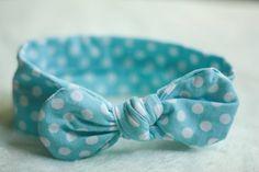 BABY BOW HEADBAND blue polka dot bow headband by BizzysBoutiques