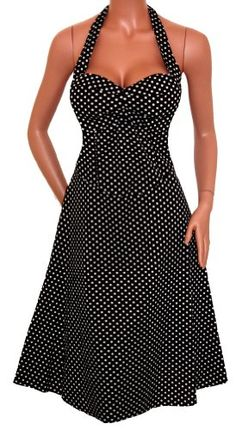 FUNFASH BLACK WHITE POLKA DOTS ROCKABILLY HALTER « Dress Adds Everyday
