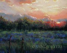 Sandy Byers Pastel Landscape Texas Sunest Painting