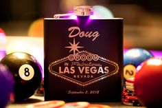 "Personalized Groomsman Flask ""Las Vegas Design"", Custom Engraved Black Flask, Wedding Gift for Groomsman, Bachelor Party, Stainless Steel by SinCityEngraving on Etsy https://www.etsy.com/listing/231768143/personalized-groomsman-flask-las-vegas"