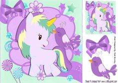 Pretty fantasy rainbow unicorn with purple bird 8x8 on Craftsuprint - Add To Basket!