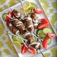 Middle Eastern Kofta Kebabs with Lemon-Tahini Sauce Recipe ---------------------------------------------------------------Modify to lessen the carbs. As is 13 g.