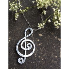 Hammered Treble Clef Necklace Perfect gift for only $16!!